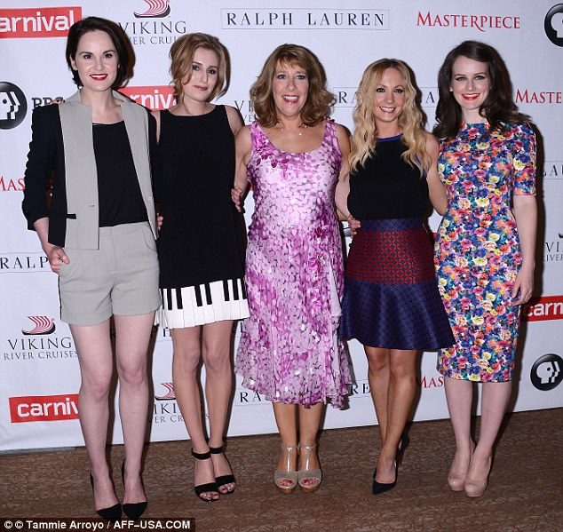 Glammed up! Michelle Dockery and her female Downton Abbey co-stars let their hair down and donned high heels for a PBS press event at the Beverly Hilton Hotel Tuesday