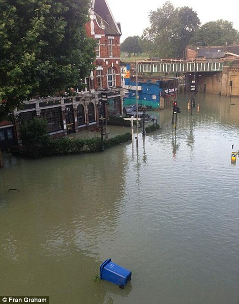 A bin is floating along in the water on Herne Hill