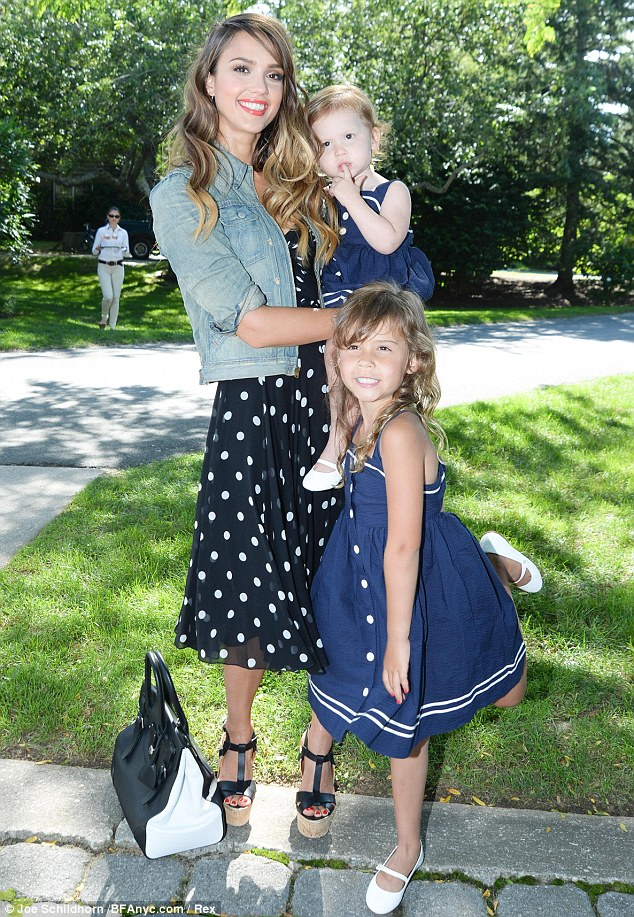 Sailor girls: Jessica Alba and her daughters Honor and Haven arrive at the Ralph Lauren girls