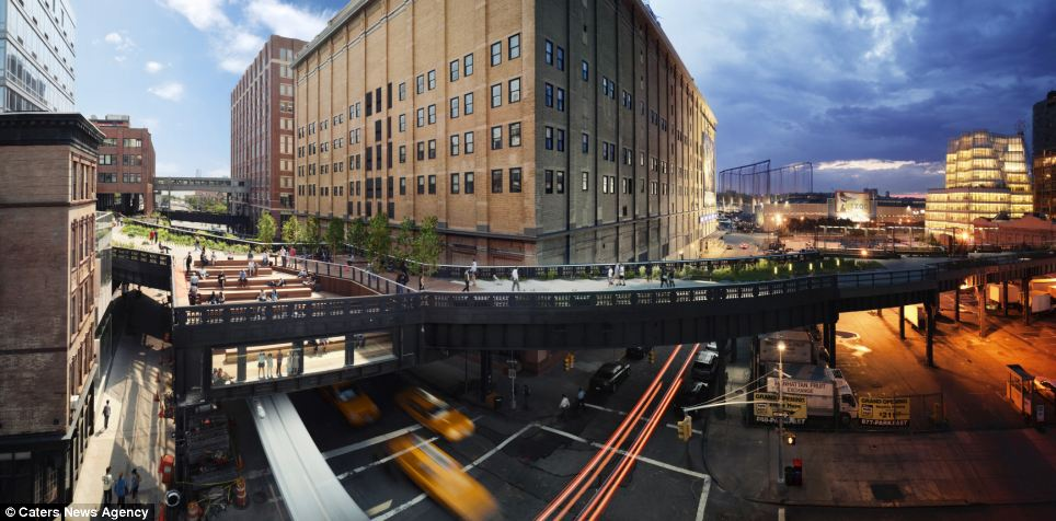 The High Line in New York is one of the city's most photographed spots and this image shows its look changes during the course of just one day