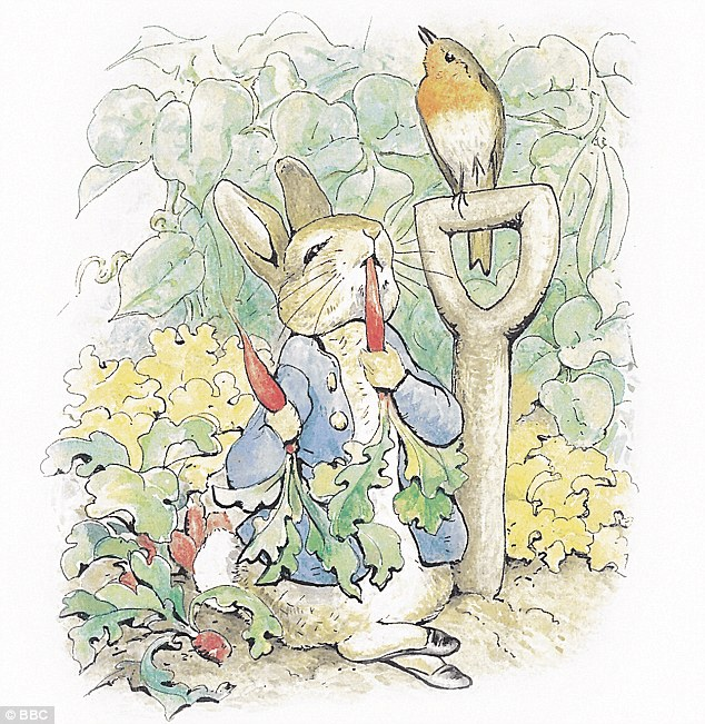 Popular: Peter Rabbit, depicted eating radishes, is likely to be one of the Beatrix Potter characters adorning Prince George's walls
