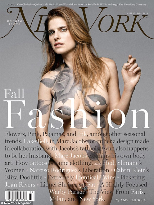 Looking fabulous: Lake Bell posed nude for the current cover of New York Magazine, with nothing but a painted rose to protect her modesty