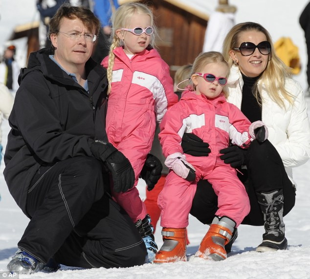 Royal loss: Netherland's Prince Friso, pictured with wife Princess Mabel and their daughters Luana and Zaria, has died after 18 months in a coma after a skiing accident