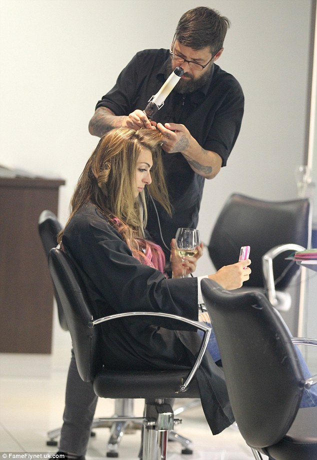 Pampering session: The party girl looked completely relaxed as she treated herself to a pampering day following her holiday