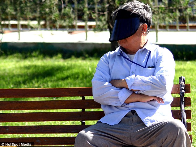 Anti-ageing? Far from simply casting a shadow over the face to protect the skin from the sun, the giant visors offer the added benefits of wearing sunglasses too
