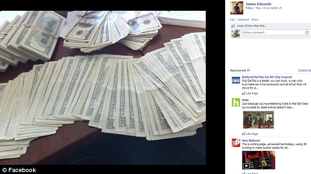 Money: Pictures of bundles of hundred dollar notes are also posted on his Facebook