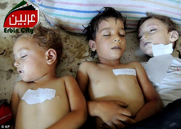 Innocent: The dead bodies of Syrian children after an alleged poisonous gas attack fired by regime forces