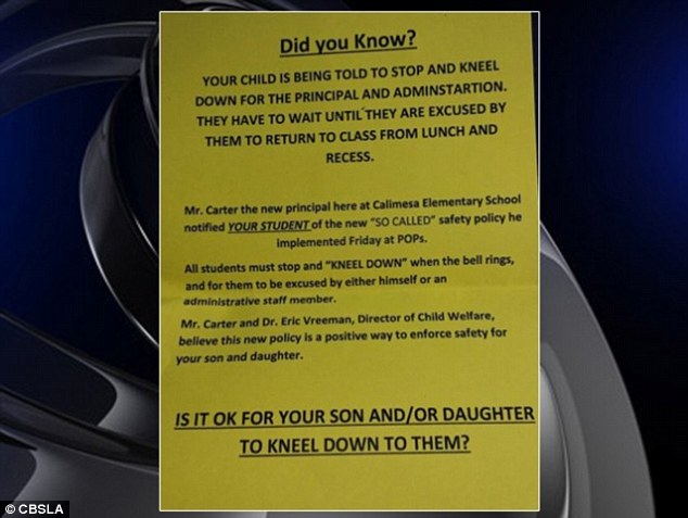 Parental backlash: The school district was forced to do away with the odd safety policy after some parents complained in reaction to a flyer that had been circulated criticizing the kneeling