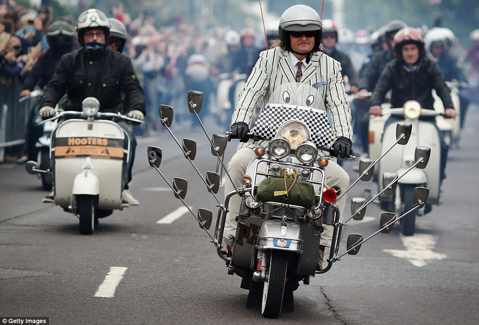 We are the mods: A rider channels his inner mod during the mass tour of the Isle on Sunday