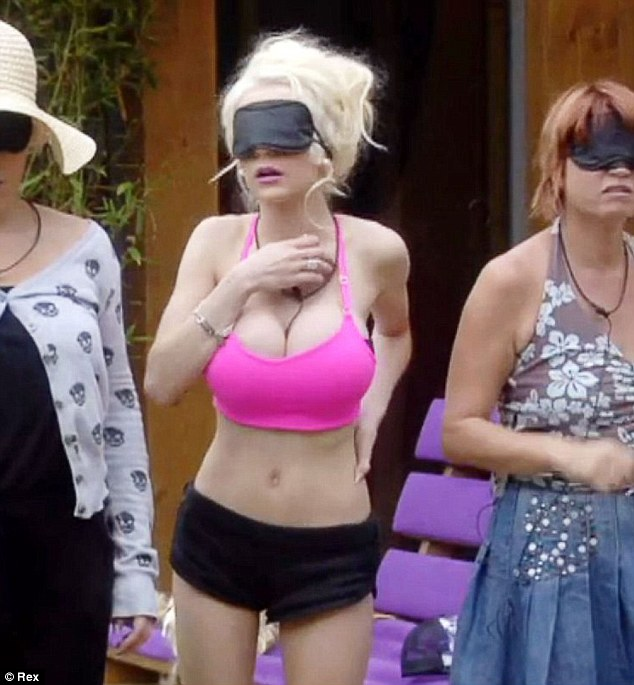 Overexposed: Courtney Stodden was blindfolded in a task, but couldn't help but wear the tiniest pink crop top for the challenge