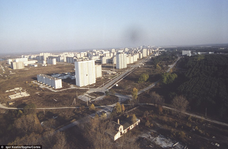 Bare: This 1986 picture shows Prypiat following the mass evacuation. It housed 47,000 inhabitants, including 17,000 children before the disaster