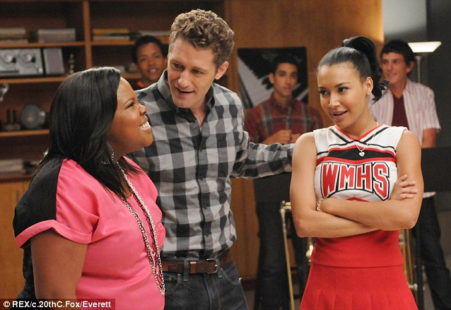 Joining the cast: Naya, right, with co-stars Amber Riley and Matthew Morrison