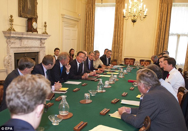 Talks: Mr Cameron chaired a meeting of the National Security Council at Downing Street earlier today before the recall of Parliament tomorrow