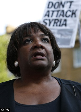 Diane Abbott MP attends an event organised by Stop the War Coalition to protest against potential UK involvement in the Syrian conflict in Whitehall, London