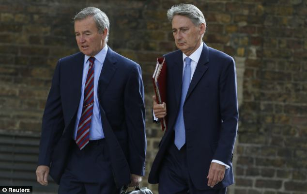 Top brass: Chief of the defence staff, General Sir Nick Houghton (L) and Defence Secretary Philip Hammond arrive for a cabinet meeting at Number 10
