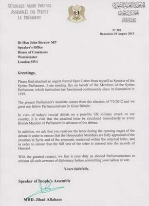 The letter from the Syrian government to British MPs warning a military strike would be an 'unprovoked act of war'