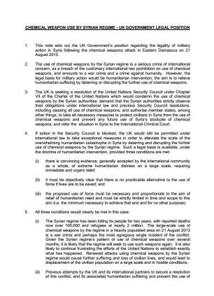 Page one of the legal advice released by the government