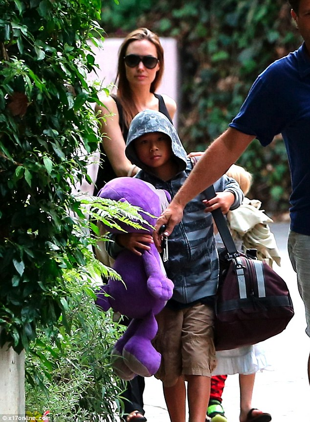 Road trip: Angelina Jolie assembled half of her brood, twins Knox and Vivienne, and son Pax for a Labor Day trip to Santa Barbara