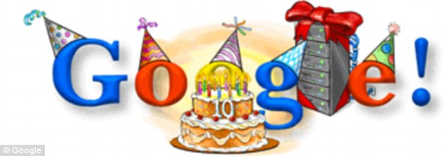 Google traditionally marks its birthday with a Google Doodle such as this one that was unveiled to celebrate its 10th anniversary.