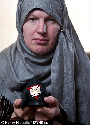 New life: Lucy Vallender 28, was formerly a male TA soldier but has had a sex changed and converted to Islam