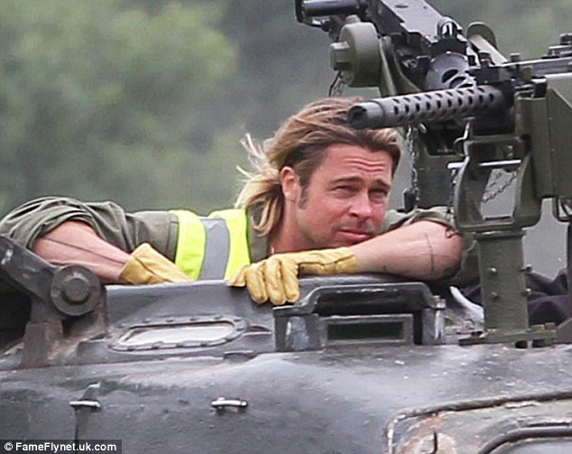 Driving lessons: Brad Pitt was spotted having a very different kind of lesson on Tuesday as he prepped for his new film