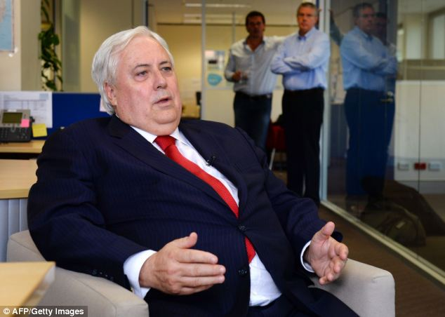 Outspoken: Multi-millionaire Clive Palmer, 5 also said today that he was planning to sue Mr Murdoch