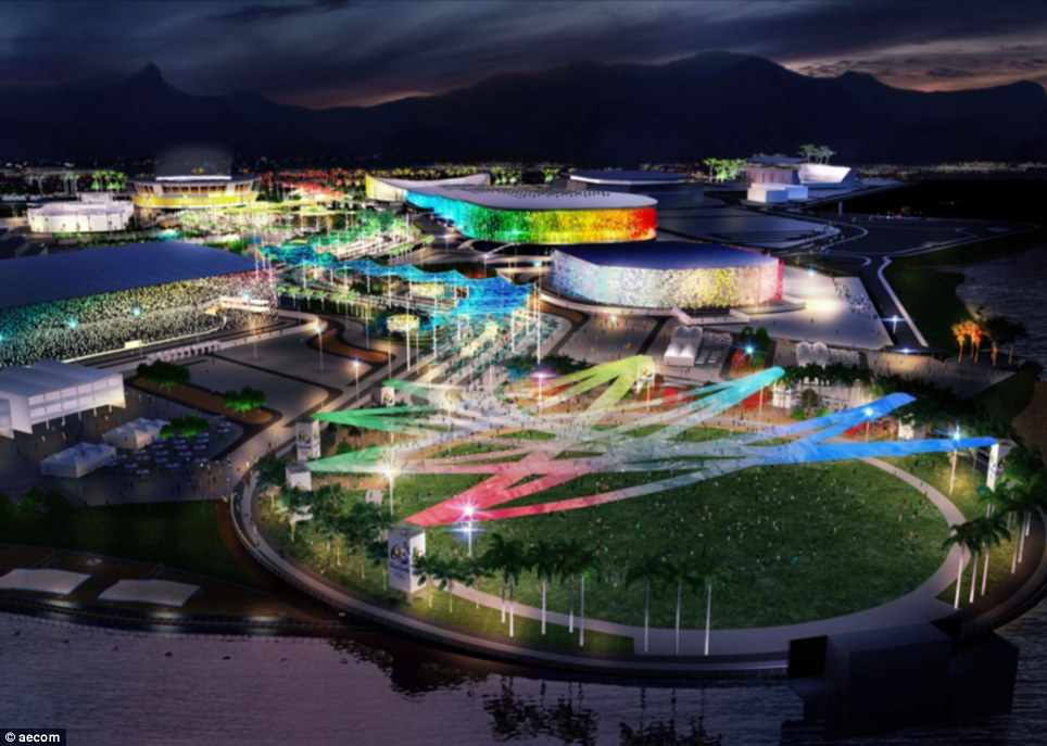 Let the games begin: As well as the sports parks and venues, the Rio de Janeiro Olympic park will also feature a 12,000 capacity waterfront lawn where sports fans can watch the games on big screens