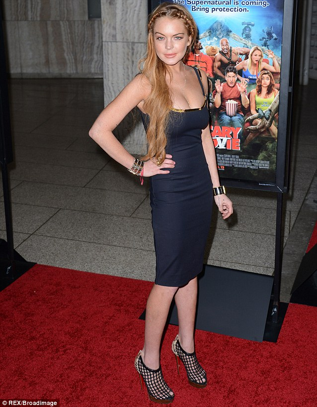 Thinner Linds: The actress was much slimmer back in April before going to rehab