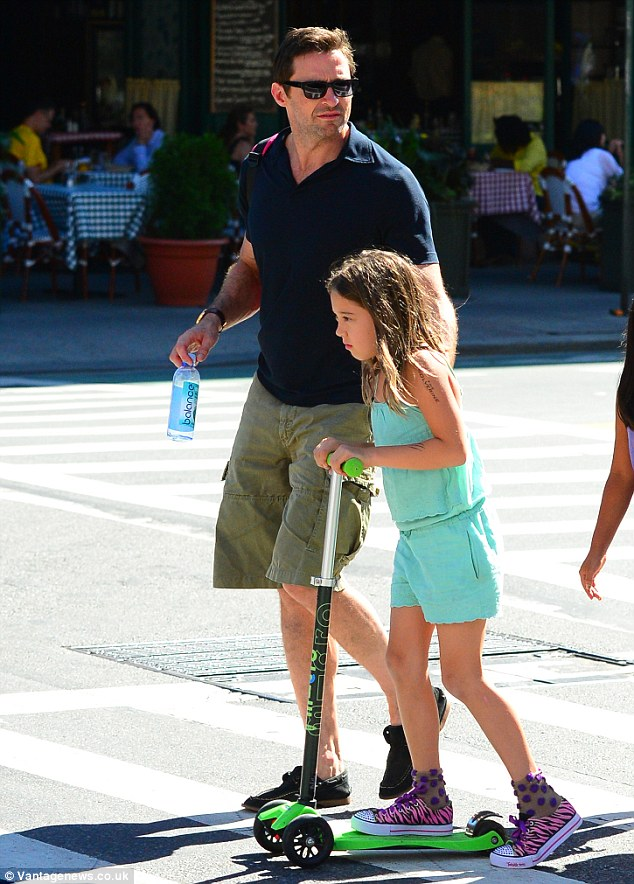 Australian actor Hugh Jackman was seen picking up his daughter from school after her first day back