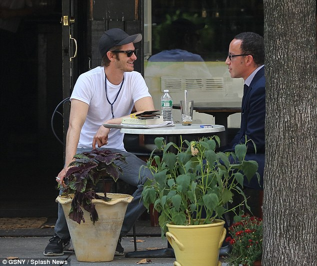 High spirits: He seemed to be in a happy and relaxed mood as he dined in Soho, New York City