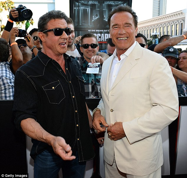 Red carpet pals: Arnold and Sly will also appear in The Expendables 3 together as the pair continue to reclaim their position in the action hero stakes