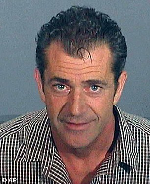 Shamed: Mel Gibson, pictured in his mug shot taken after his arrest on drunken driving charges in 2006 when he launched an anti-Semitic rant