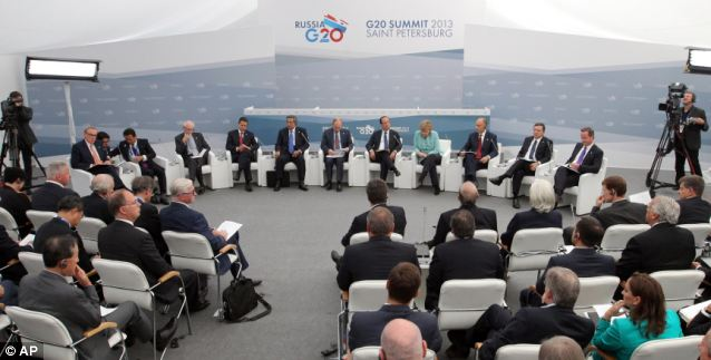 The G-20 meeting, typically a gathering devoted to business and economic issues, turned to discussion of international military intervention to stop Syria's civil war