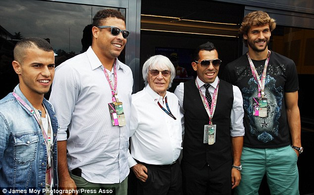 Footballers heaven: From left to right, Sebastian Giovinco, Ronaldo, Bernie Ecclestone, Carlos Tevez and Fernando Llorente before the race
