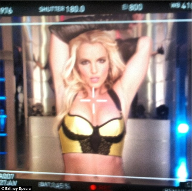Tease: Britney Spears posted a sneak peek from her upcoming music video rumoured to be titled Work B***h, on Saturday
