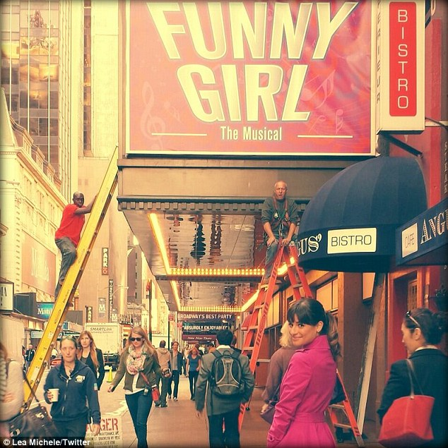 'Glee in NYC': Lea tweeted a photo of herself wearing that pretty fuchsia coat and a smile in front of the Funny Girl marquee