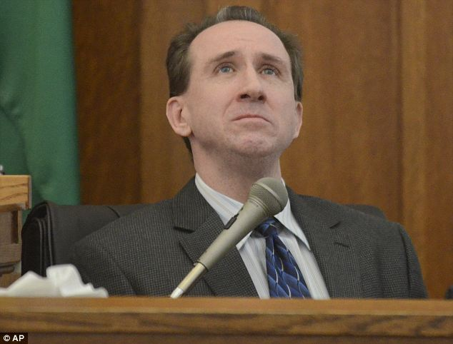 Remorseful? Williams is pictured here testifying for his defense in August. The Washington man and his wife were both found guilty of first degree manslaughter and both face a possible life sentence