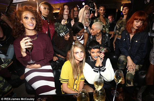 Party time: Rihanna was joined by her pals, including Cara Delevingne, as she launched her new River Island collection on Tuesday night