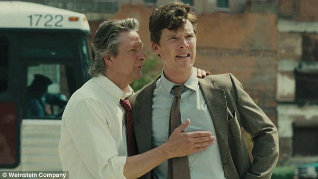 Settle down: Chris Cooper calms Benedict down as they discuss Beverly Weston's funeral
