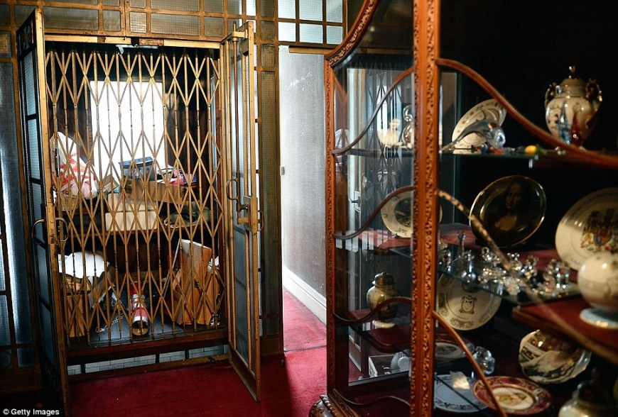 House lift: The untouched property had an internal lift for the servants and the owners. To the right is a glass case with ornamental plates