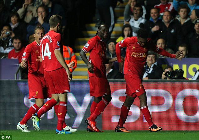 Me again: Daniel Sturridge netted Liverpool's equaliser after Shelvey had opened the scoring