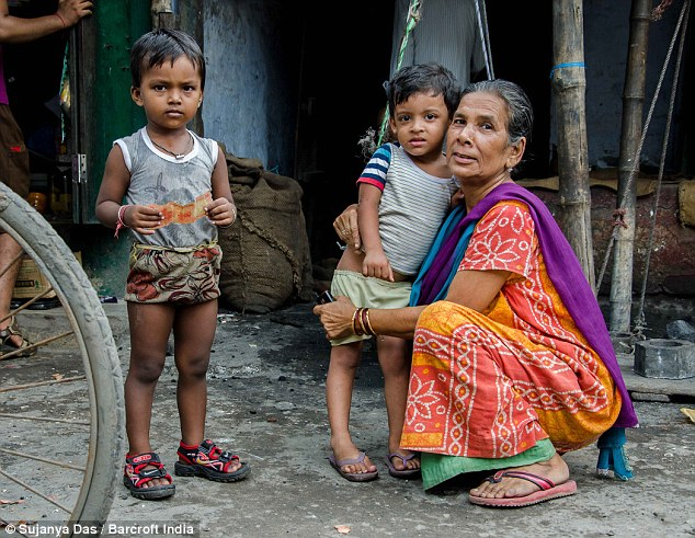 Image result for OLD POOR INDIAN LADY WITH GRAND CHILDRENS