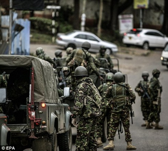 Assault: A Large number of troops from the kenya defence force arrived to strengthen the already formidable numbers of troops available
