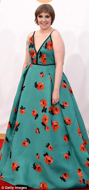 Girls gone wrong: Girls stars Zosia Mamet (left) and Lena Dunham (right) were not on trend in their brightly coloured voluminous gowns