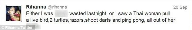 Tweet of Rihanna.