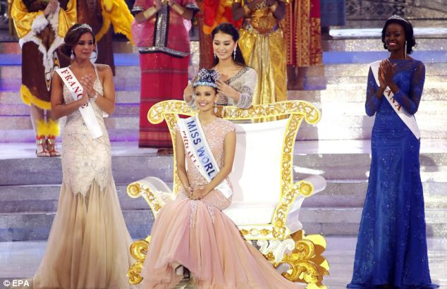 Beauties:Miss France Marine Lorphelin (second left) was crowned runner-up, while Miss Ghana Carranzar Naa Okailey Shooter (right) came in third