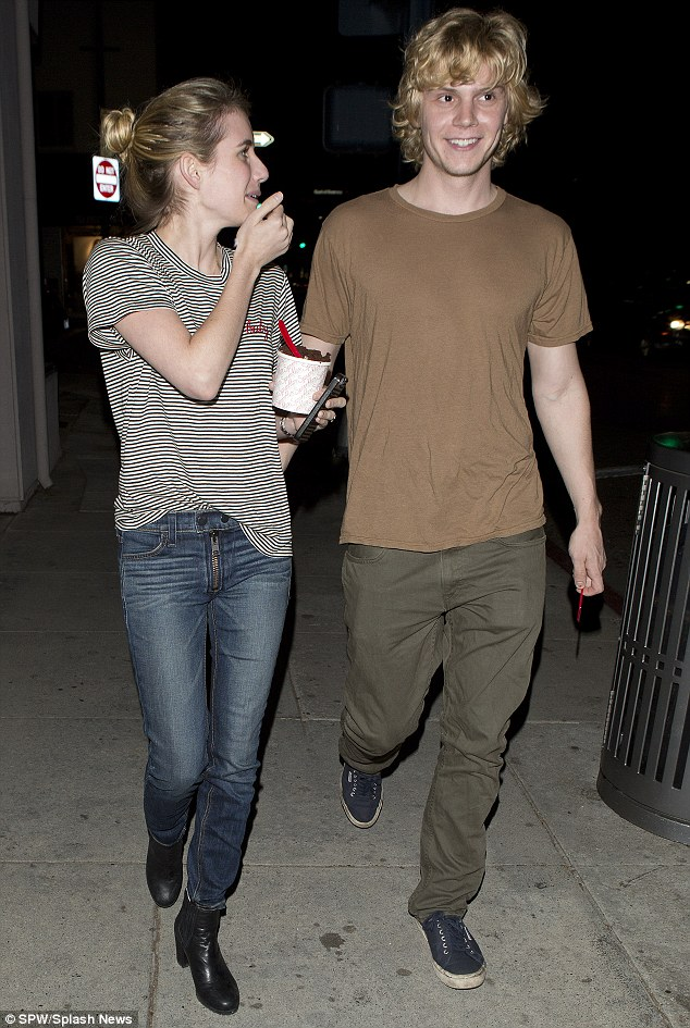 Emma Roberts and boyfriend Evan Peters share a pot of ice cream with two spoons  Daily Mail Online