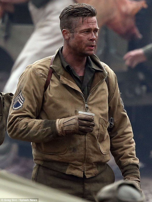 Brad Pitt Smokes On Set Of New Movie Fury Amid Angelina