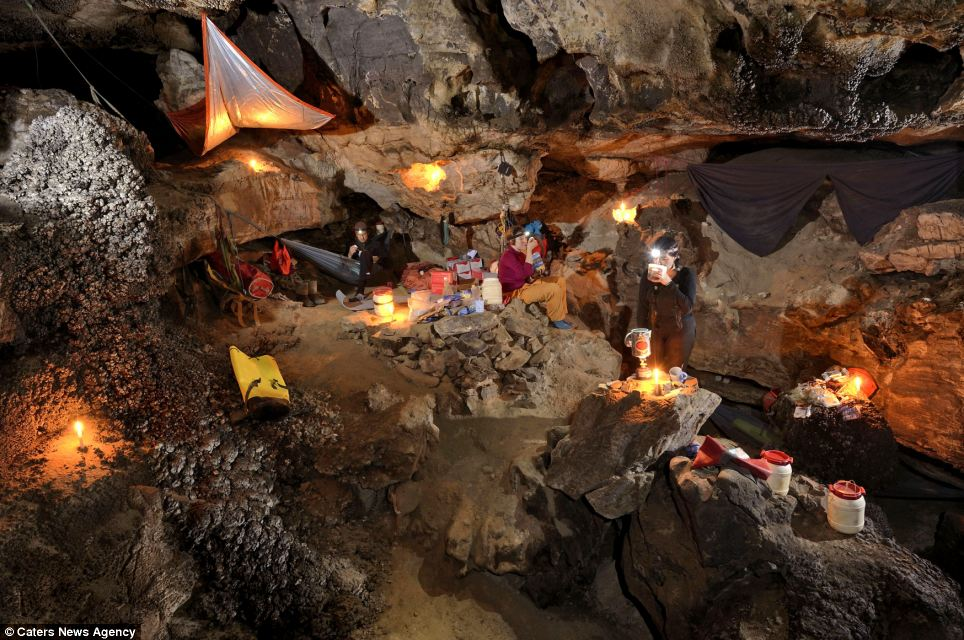 The underground camp in Sang Wang Dong is cosy and warm, according to the cavers