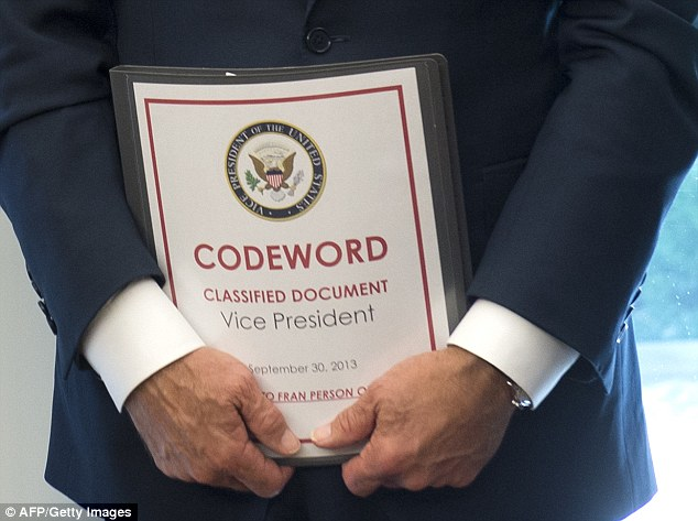 Gaffe: In a photograph published by AFP/Getty Images, the binder clearly shows the title 'Codeword: Classified Document' emblazoned across it